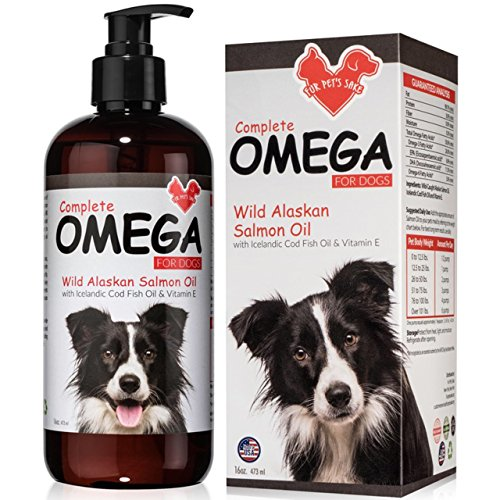 Salmon Oil For Dogs and Cats - Helps Dry Itchy Skin, Shedding, Dandruff & Joint Pain - For Healthy Skin & Soft Shiny Coat - Natural Wild Caught Liquid Fish Oil Supplement With Omega 3 & Vitamin E 16oz