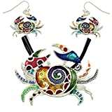 "DianaL Boutique Beautiful Enameled Crab Pendant Necklace and Earrings Set Cancer Horoscope Zodiac Sign with 18"" Black Cord Gift Boxed"