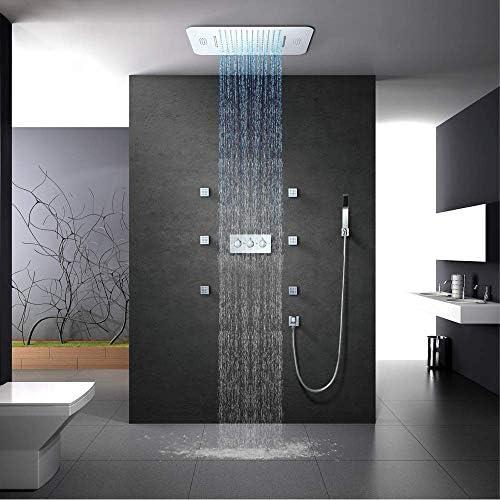 SISHUINIANHUA Duschsystem LED Einbauduschkopf mit 2 Funktionen, Fernbedienung, klassisches Design 580x380 mm Thermostatdusche, Chrom