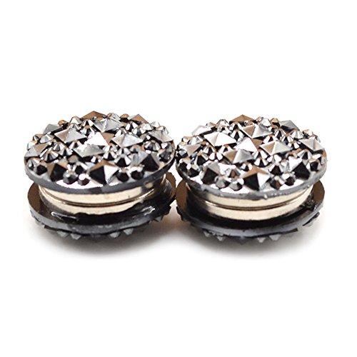 dds5391 1 Pair Round Rhinestone Magnetic Women's Brooch Clasp Scarf Abaya Muslim Pin - Black (Abaya Scarf)
