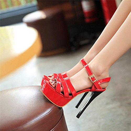 Open Shoes Heel Red Size Toe Day Shoes Women's Platform Sandals High Heels Nightclub ZHIRONG Performance High Shoes White EU36 Shoes Waterproof CN36 Thin Rome UK4 Color Hate 14CM nWqHwYwgvx