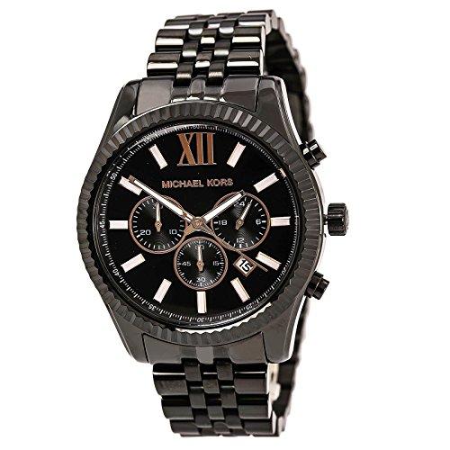 Michael Kors MK8467 Men's Lexington Black Dial Black IP Steel Bracelet Chronograph Watch