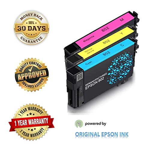 Epson 802 Ink Cartridges (Re-Manufactured/Repackaged), Works for Epson WF-4720 WF-4730 WF-4734 WF-4740 Printers, Standard Plus Capability (3 Pack Standard Plus, C, M, Y)
