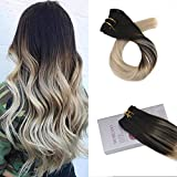 Moresoo 18 Inch Full Head Hair Extensions Double Weft Clip in Straight Hair Clip Color #1B Off Black Fading to #18 and #60 Blonde Clip in Hair Extensions Human Hair 7PCS 120G