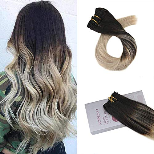 Moresoo 18 Inch Full Head Hair Extensions Double Weft Clip in Straight Hair Clip Color #1B Off Black Fading to #18 and #60 Blonde Clip in Hair Extensions Human Hair 7PCS 120G (Best Color To Ombre Black Hair)
