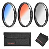 GREEN.L Color Filter Set 49mm Graduated Gray Orange Blue Filter Slim Adjustable Filter with Filter Pouch Cleaning Coth