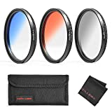 GREEN.L Color Filter Set 52mm Graduated Gray Orange Blue Filter Slim Adjustable Filter with Filter Pouch Cleaning Coth