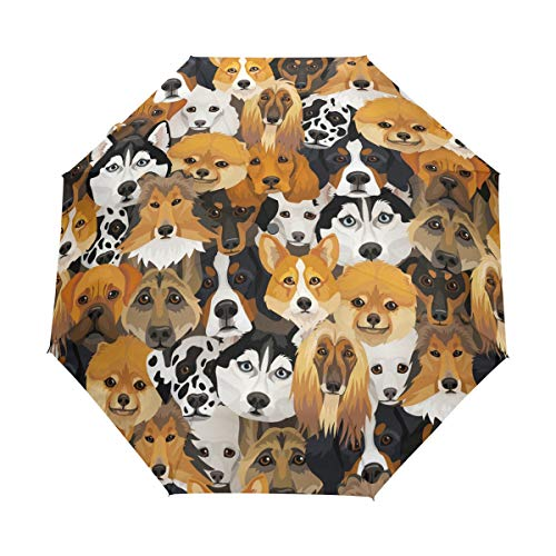 ALAZA Dogs Facial Expression Travel Umbrella Auto Open Close Windproof Waterproof Folding Umbrella Compact Canopy Easy Carrying