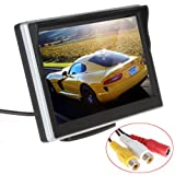 ePathChina 5 inch TFT-LCD High Definition Digital Panel Color Car Rear View Monitor with Front Diaphragm OSD Menu DC 12V LED Backlight Display Vehicle Rearview Mirror Monitor Support Rotatable Screen & 2 Video Input for VCD / DVD / GPS / Car Reverse Camer