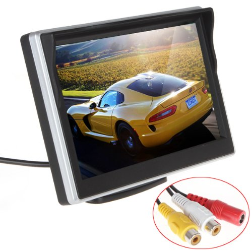 ePathChina 5 inch TFT-LCD High Definition Digital Panel Color Car Rear View Monitor with Front Diaphragm OSD Menu DC 12V LED Backlight Display Vehicle Rearview Mirror Monitor Support Rotatable Screen (Color Digital Tft Lcd)