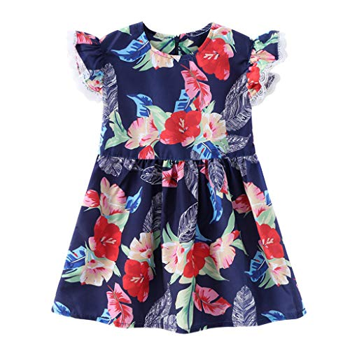 QQ1980s 1-5Years Old Girls Princess Dresses Lace Cuff Flower Print with Back Zip Dress Ethnic (Red, 100)