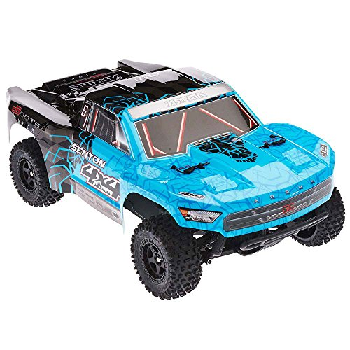 ARRMA SENTON 4x4 MEGA 4WD RC Short Course Truck RTR with 2.4GHz Radio | 7C 2400mAH NiMH Battery | Charger | 1:10 Scale (Blue/Black)
