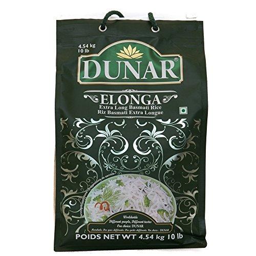 (Dunar Elonga Basmati Rice, Premium, 10 Pound)