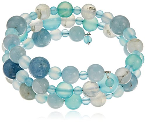 Handmade Coil with Aquamarine, Rainbow Moonstone and Sea Blue Chalcedony Beads Wrap Bracelet by Amazon Collection