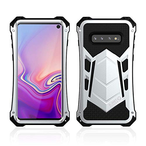 Galaxy S10 Case, Armor Aluminum Alloy Metal Silicone Hybrid Military Heavy Duty Hard Defender Shockproof Dirtproof Case Protector Cover for Samsung Galaxy S10 (Silver) (Aluminum Hybrid Silicone)