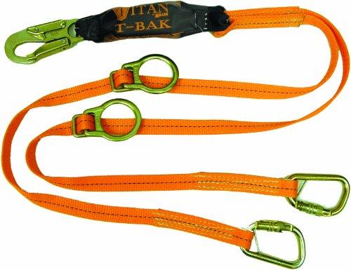 Miller Titan by Honeywell T6121TB-Z7/6FTAF 6-Feet Double-Legged Tie-Back Web Lanyard with Adjustable D-Rings