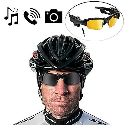 [Best Cycling Bluetooth Sunglasses] BlueLotus® Hifi Stereo Bluetooth 4.1 Sunglasses (Polarized Black+Yellow Lens) Headset, Music Glasses Supports Music, Handfree Calls, Camera Shutter Remote