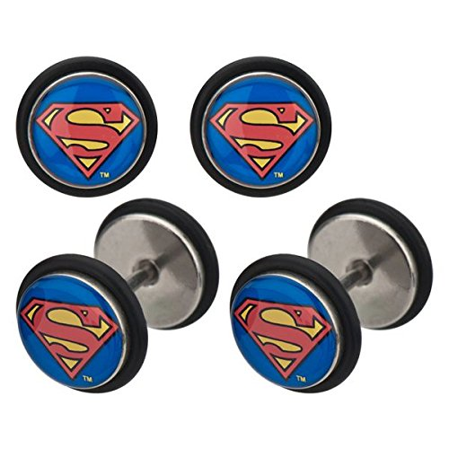 DC+Comics Products : DC Comics Superman Logo Stainless Steel Fake Plug Earrings