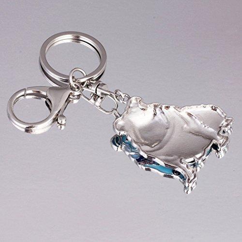 Luckeyui Unique English Bulldog Gifts Keychain for Women Girls Cute Blue Enamel Animal Keyring by Luckeyui (Image #4)