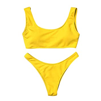 f4614a65876a0 Image Unavailable. Image not available for. Color: Women's Solid Scoop Neck  Push up Padded Brazilian Thong Bikini Swimsuit ...