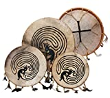 Shaman drum painted 14'' with goat skin, Frame Drum, handmade