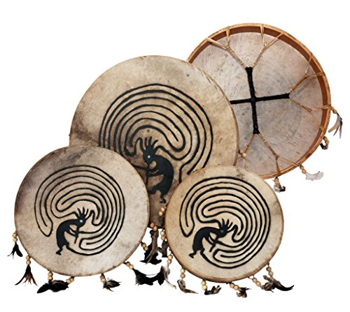 Shaman drum painted with goat skin, Frame Drum, handmade ... (12 - Hand Indian Drums