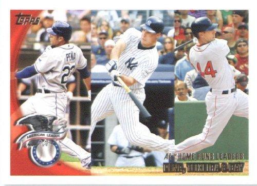 2010-topps-baseball-card-138-al-home-run-leaders-carlos-pena-mark-teixeira-jason-bay-tampa-bay-rays-