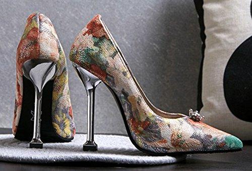 Aisun Sexy Haut Aiguilles Femme Escarpins Talon Fleurs Multicolore azaBwx