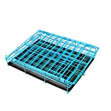 Dogs Double-Doors Folding Pet Cage with Metal Wire Blue