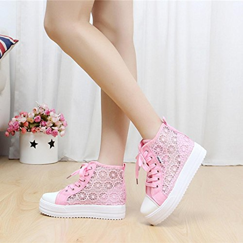 Jamicy Women Summer Fashion Lace Canvas Hollow Casual Shoes Pink ofIy0a