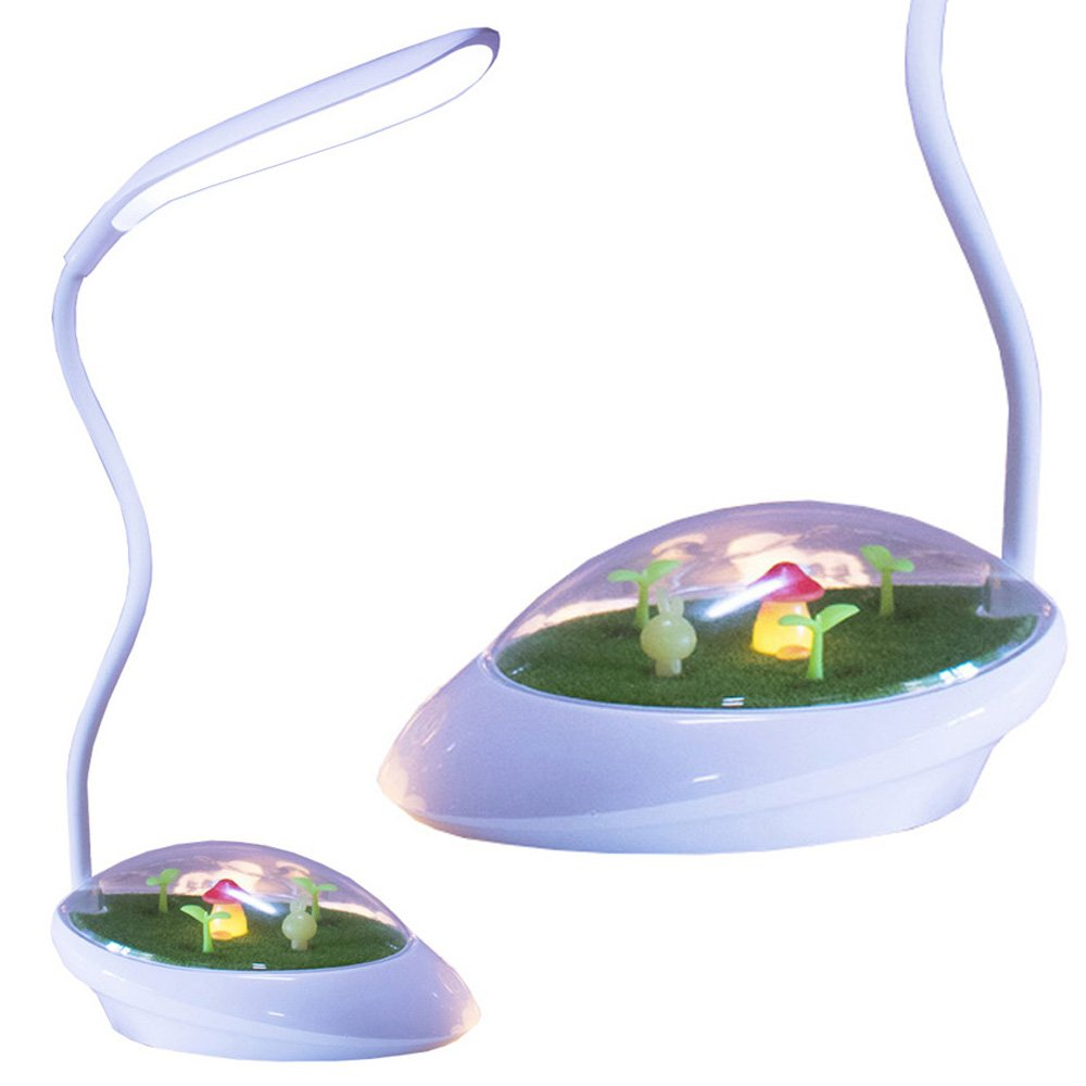 White 2 Pack LuxLumi Toadstool Field Desk Lamp with LED Mushroom Night Light Touch Dimmer Rechargeable Eye Caring Portable for Children Kids Students Toddler Home Office Back to School Nursery