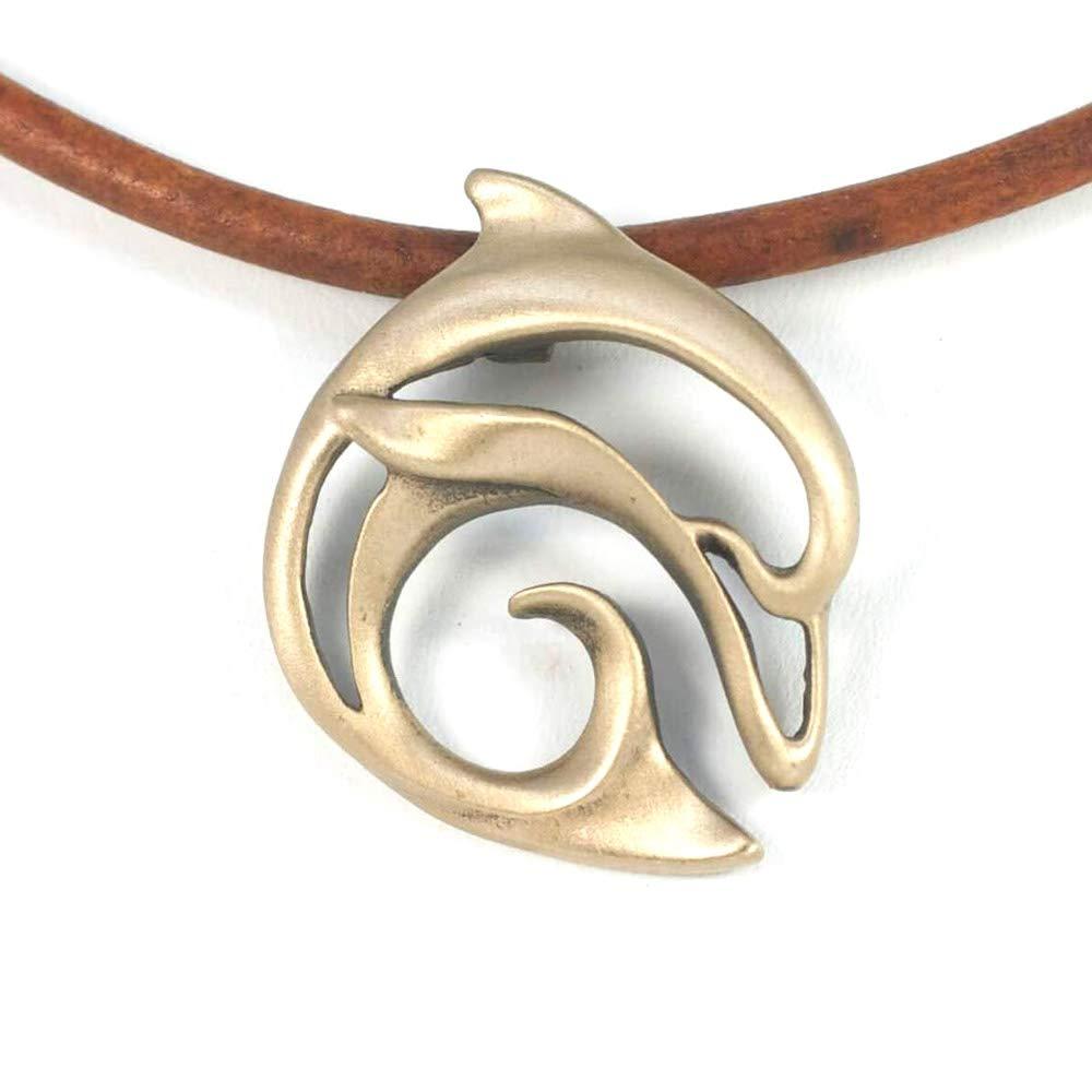 BigBlue Aquatic Ocean Theme Bronze Pendants on 18 Brown Leather Cord Necklace