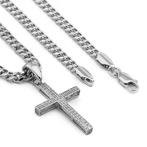 Raonhazae Lab diamond Micro Pave Slim Design JESUS CROSS Pendant w/Miami Cuban Chain X70 (Silver) ()