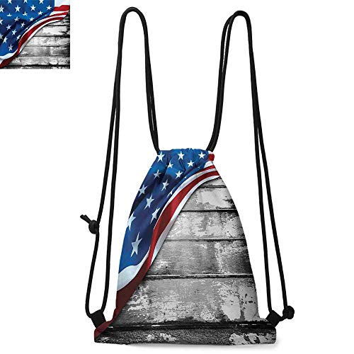 American Flag Printed drawstring backpack Close Up Design Flag over Antique Rustic Rippled Board Federal Country Art Suitable for school or travel W13.4 x L8.3 Inch Grey Navy