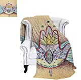 How Many Feet Is a California King Bed Warm Microfiber All Season Blanket Abstract Hamsa Hand with Wings and Eye Artistic Mystical Spiritual Icon Print Artwork Image 50