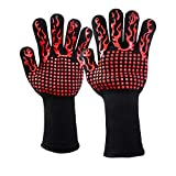 FIREOR BBQ Grill Gloves, 1472°F Extreme Heat Resistant Gloves Non-Slip Insulated Oven Mitts Potholder Perfect for Barbecue Grilling Cooking Baking Kitchen Smokers 1 Pair