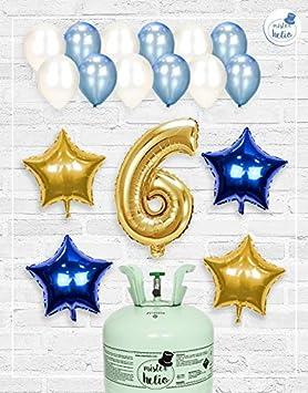 Bombona de Helio Mrhelio+Globos cumpleaños Niño números (Cumple 6 años niño)