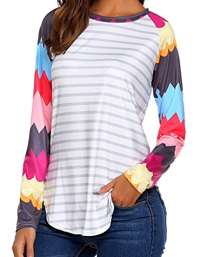 Easther Women Plus Size Crew Neck Striped Long Sleeve T-Shirt Blouse Tops Side Split For Leggings XX-Large Striped Split Neck Top