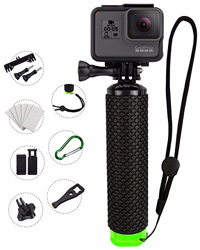 MiPremium Waterproof Floating Hand Grip Compatible with GoPro Cameras Hero 4 Session Black Silver Hero 2 3 3+ 4. Handler Plus Free Handle Mount Accessories for Water Sport and Action Cameras (Green)