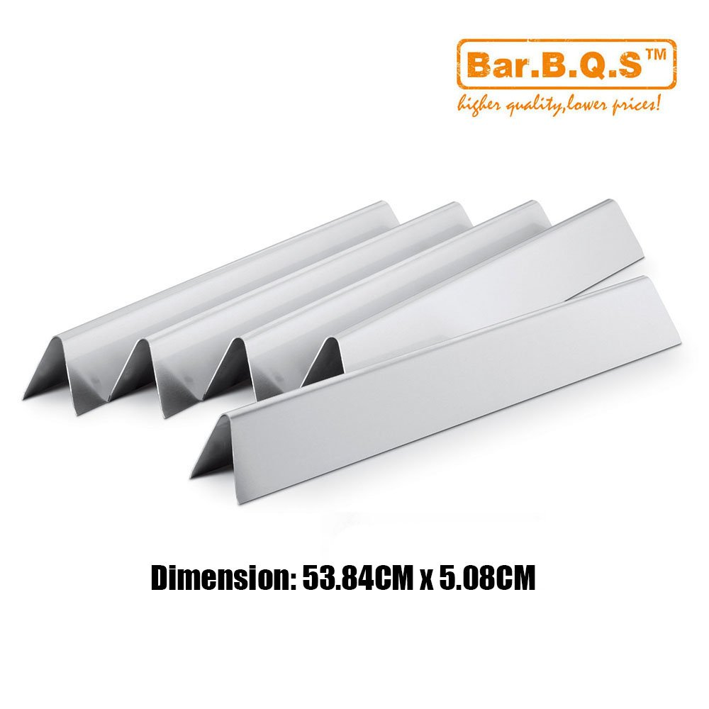 Bar.b.q.s Stainless Steel Heat plates, Set of 5 replacement for Weber Spirit E/S 200 & 210 (2009 & Older -2012), Spirit 500 & Silver A Gas Grills, # 9811,7535 / 53.84CM L (Aftermarket Parts) (Flavorizer bars) # 7534,7535