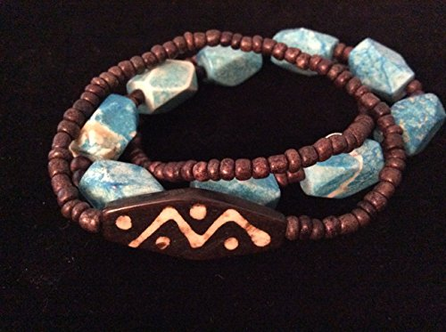 3 Strands Stretch Bracelet - Wood and Chunky Turquoise Howlite Stretch Bracelet 3 Strand Stacking Bracelet One of a Kind