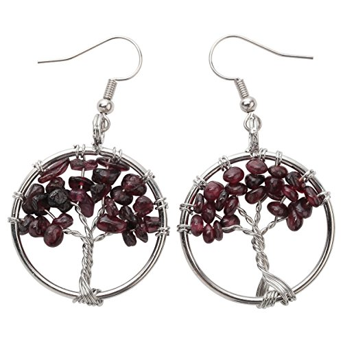 YACQ Natural Gemstone Tree Dangle Drop Earrings Handcrafted Jewelry for Women -