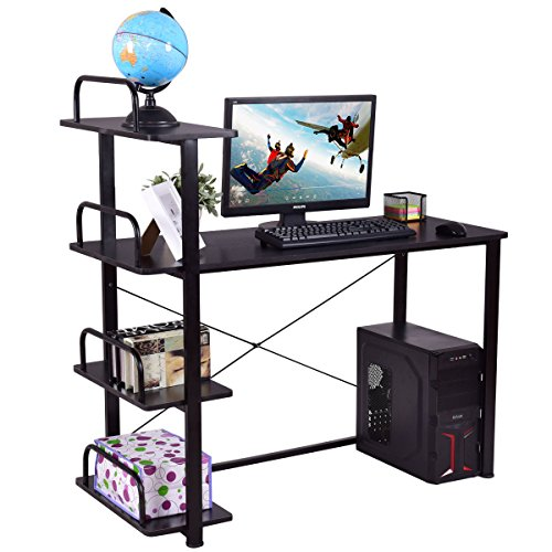 Video Conference Shelf (Tangkula Computer Desk 4 Tier Wood Compact Home Office Laptop Writing Table with Shelves)