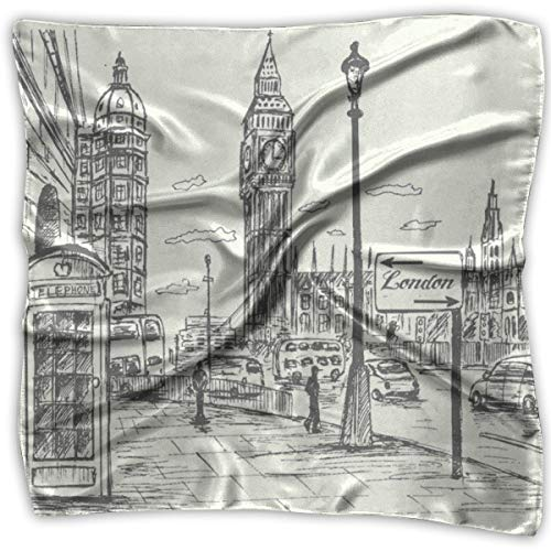 Square Scarf Hand Drawn London City Scarves Unisex Headband Tie For Adults