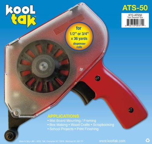 Photo Tape Gun (KOOL TAK ATS 50 Adhesive Tape Applicator, Red)