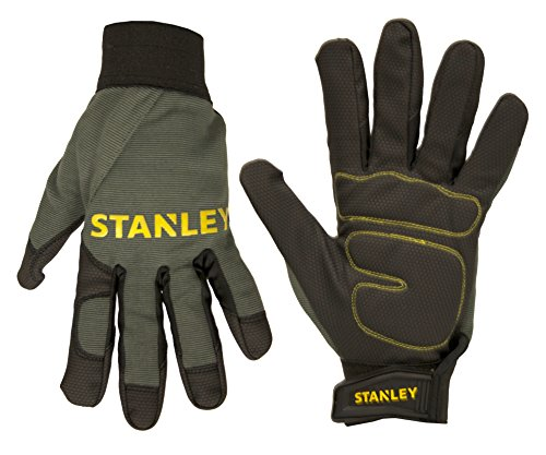 Stanley S77644 Padded Comfort Grip Digital Polyurethane Palm with Foam Padding and a Gray Spandex Back, X-Large