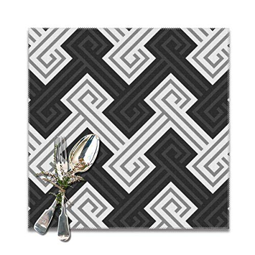 Athena Serving Tray - Athena Greek Key in Charcoal Table Placemats for Dining Table, Wipeable Placemats Washable Table mats Heat-Resistant Set of 6