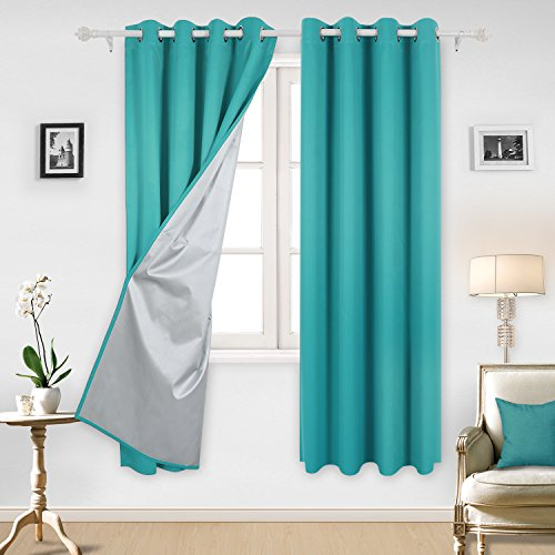 Deconovo Solid Thermal Insulated Blackout Curtains with Backside Silver Backing to Reflect Sunlights, 52x84 Inch, Turquoise, 1 Pair