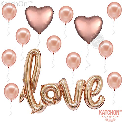 Love Balloons Decorations, Rose Gold - Large, Pack of 13 | Beautiful Rose Gold Love Balloon for Valentines-Day Party Supplies, Heart Shaped Rose Gold and Latex Balloon kit | Wedding, Bridal Shower