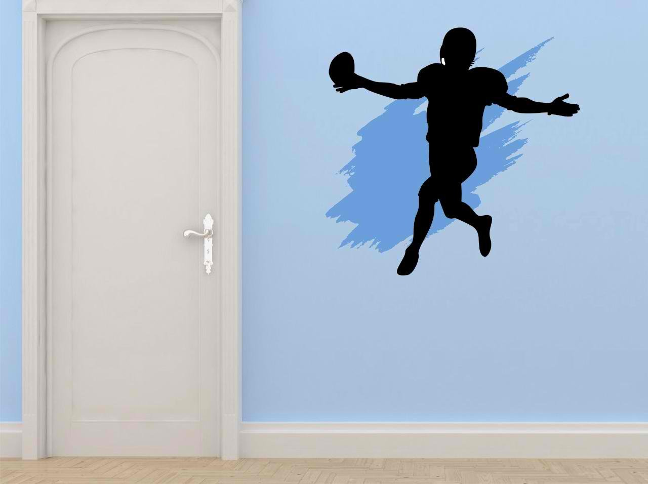 20 by 20-Inch Design with Vinyl Cryst 227 388 As Seen Football Sports Team Player Running Kicking Throwing Passing Mens Boys Kids Vinyl Wall Decal Art As Seen